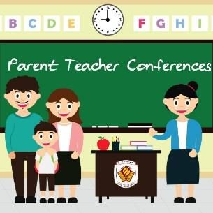 chalkboard: parent teacher conferences-- family with teacher